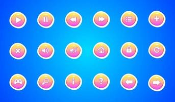 Interface buttons for game and app design vector