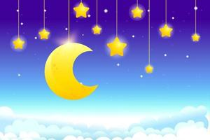 Night sky background with hanging moon and stars, fantasy background vector