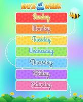 Days of the week kids learning template design vector