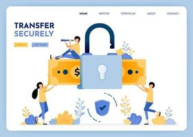 Transfer money with security and and comfortably with data protection and mobile user privacy. 3d style padlock and money for finance and bank. Illustration for landing page, web, website, poster, ui vector