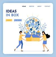 Metaphor ideas out of the box. Find inspiration and ideas for business learning and education. 3d style of box and light bulb. Growing creativity. Illustration for landing page, web, website, poster vector
