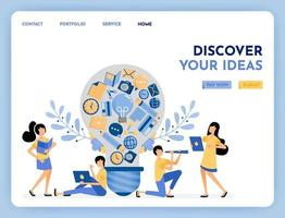 Metaphor of discovery idea. Find inspiration and ideas. 3d style symbol of learning, education, financial, hobby and camera. Growing creativity. Illustration for landing page, web, website, poster, ui vector