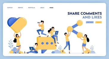 People leave comment, like, share on social media posts. Giant 3d style of social media button icon. Message and communication vector design. Illustration for landing page, web, website, poster, ui