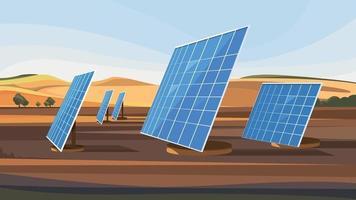 paisaje con paneles solares. vector