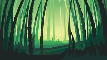 Landscape with bamboo trees. vector