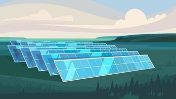 Granja con energía solar. vector
