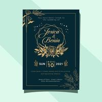 Leaves and flowers wedding invitation card template design, pastel theme and soft vintage vector