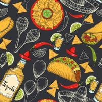 Seamless pattern with hand drawn Mexican food vector