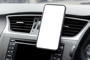 Phone on car dash mock-up photo