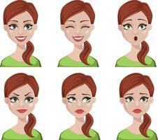 expresiones faciales de mujer con cabello castaño vector