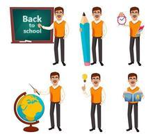 Back to school. Teacher man cartoon character vector