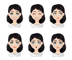 expresiones faciales de mujer con cabello oscuro vector