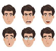 expresiones faciales de hombre de negocios vector