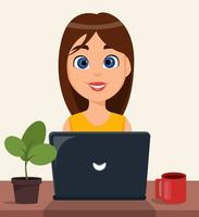 Businesswoman entrepreneur working on a laptop computer at her office desk vector
