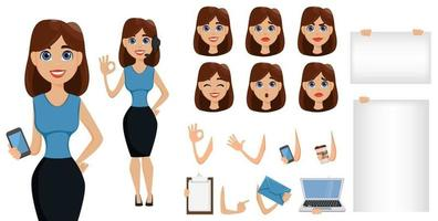 Businesswoman cartoon character creation set. Cute brunette businesswoman in smart casual clothes, blue style. vector