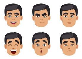 conjunto de emociones masculinas. paquete de expresiones faciales vector