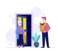 Delivery of groceries by courier vector