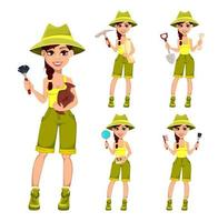 Woman archaeologist. Cute cartoon character vector