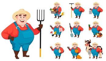 Fat farmer, agronomist, set of ten poses vector