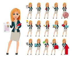 Cartoon character businesswoman with blonde hair vector