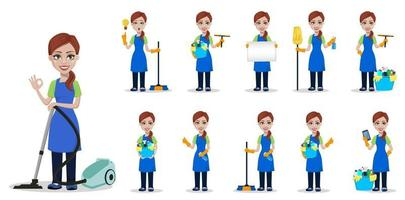 personal de la empresa de limpieza en uniforme vector