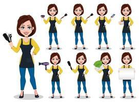 Hairdresser woman in professional uniform vector