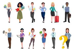 Successful business people cartoon characters vector