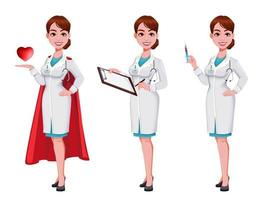Beautiful young woman doctor vector