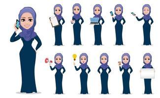conjunto de personajes de dibujos animados de empresaria árabe vector