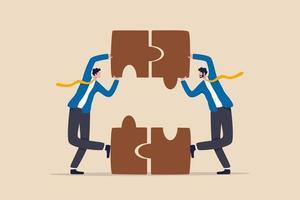 asociación y trabajo en equipo, acuerdo comercial o concepto de colaboración en equipo de trabajo vector