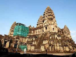 Siem Reap, Cambodia, 2021 - Tourists at The Angkor Wat while under construction