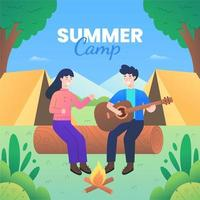 Summer Camp with Couple Sitting Near Bonfire vector