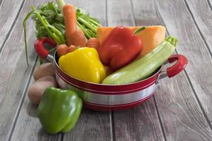 Fresh vegetables for soup in red pot photo