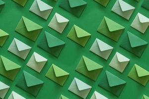 Line of envelopes in green tones