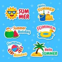Summer Holiday Sticker Set vector