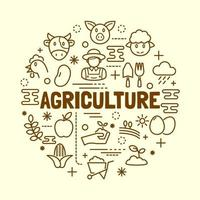 Agriculture minimal thin line icons set vector