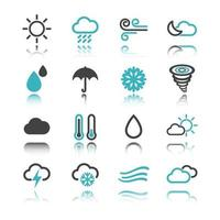 Weather icons with reflection vector