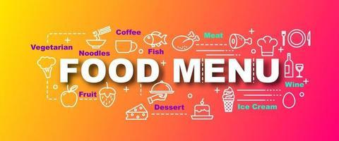 banner de moda de vector de menú de comida
