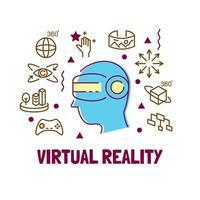 Virtual reality modern outline vector
