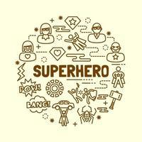 Superhero minimal thin line icons set vector