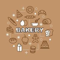 iconos de contorno mínimo de panadería