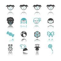 iconos de niña con reflejo vector