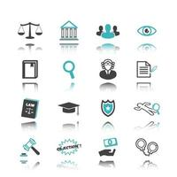 Law icons with reflection vector