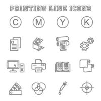 Printing line icons vector