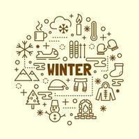 conjunto de iconos de delgada línea mínima de invierno vector