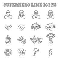 Superhero line icons vector