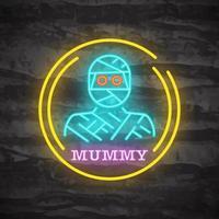 Mummy halloween night neon logo vector