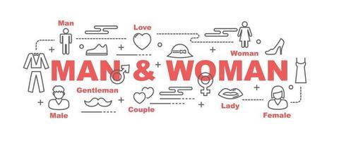 banner de vector de hombre y mujer