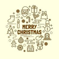 Christmas minimal thin line icons set vector