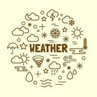 Weather minimal thin line icons set vector